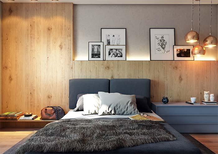 Apartamento decorado: quarto de casal decorado com quadros e luminárias pendentes