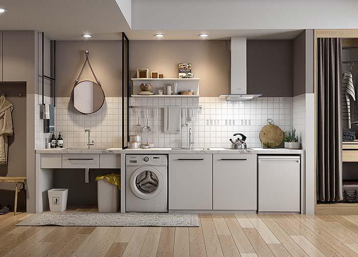 Peça única: bancada da cozinha e do banheiro integradas