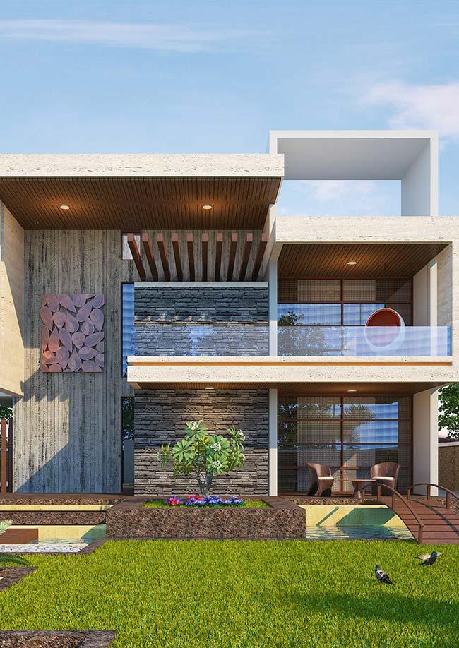 Uma fachada de casa com pedra para ser observada