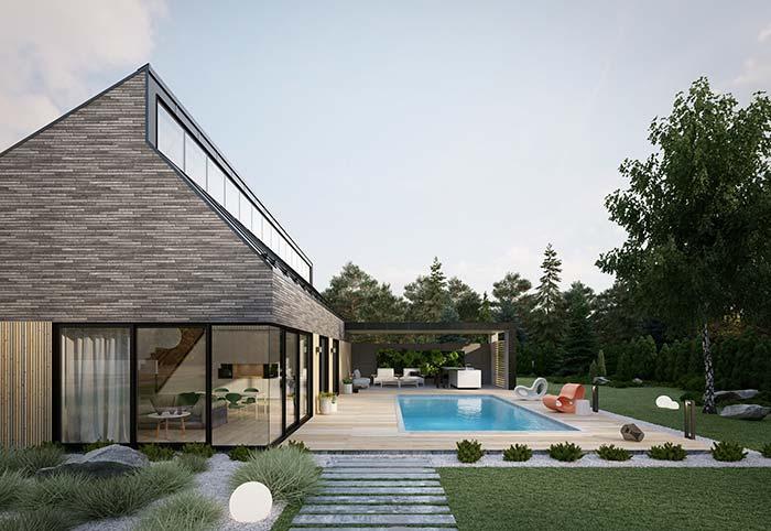 Casa de design moderno e diferenciado apostou na fachada de casa com pedra