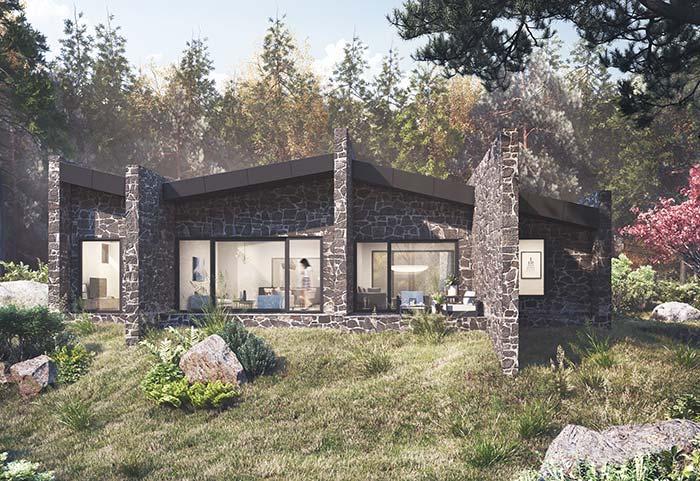 Fachada de casa com pedra: o rejunte claro realça o formato natural das pedras marrons