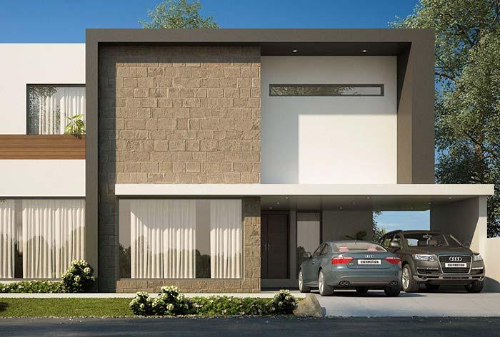 Fachada de casa com pedra: nessa casa, as pedras aparecem de modo mais discreto e se assemelham a blocos estruturais