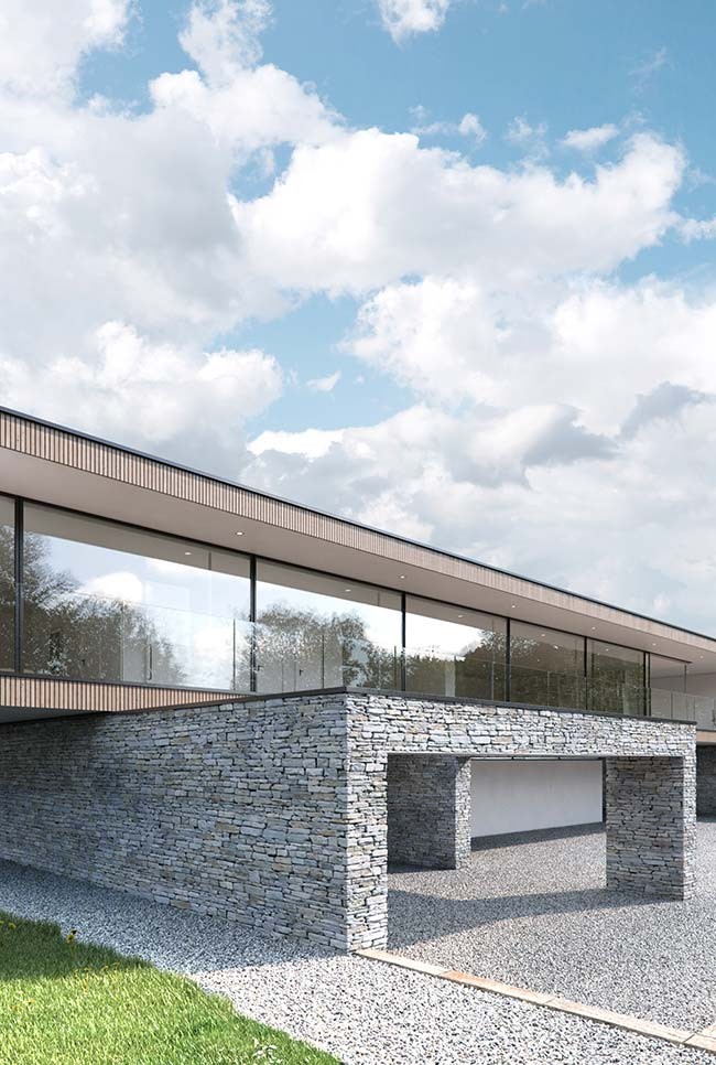 Fachadas de casas com pedras: casa de arquitetura moderna ganhou um abrigo para carro todo feito em pedras, elas vão inclusive no chão, no lugar do piso