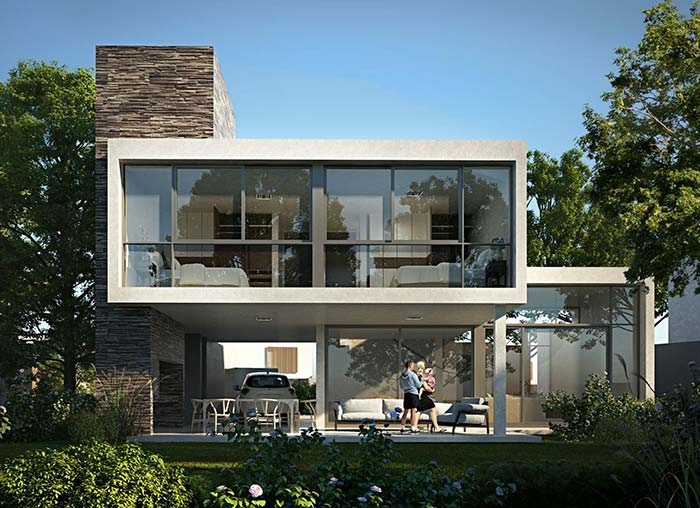 A parte mais vertical da casa foi toda revestida com pedras, destacando-se ainda mais na construção