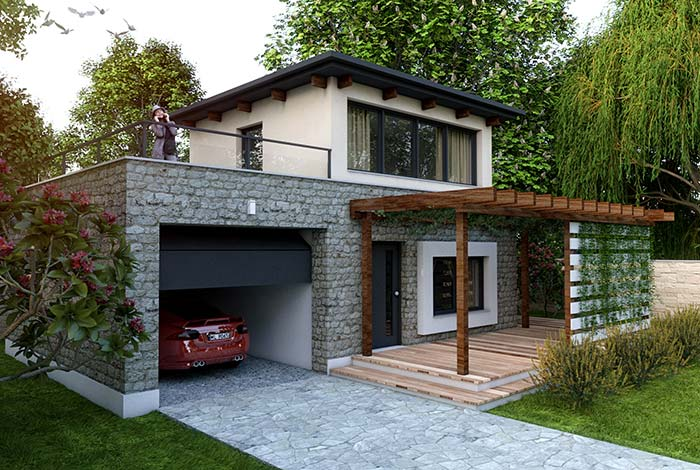 Casa pequena com fachada de pedra