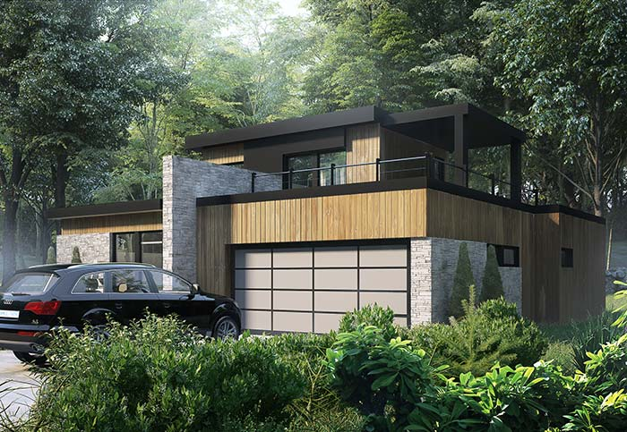 Em meio a natureza, a opção foi por uma fachada de casa com pedra que mesclasse pedras e madeira