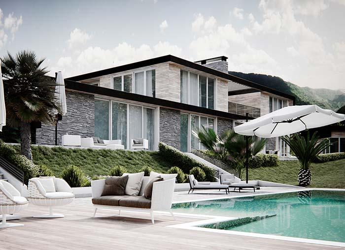 Uma casa acolhedora e refinada ao mesmo tempo: as pedras passam essa sensação para quem visualiza a fachada de casa com pedra