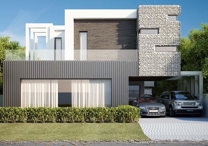 Gabiões de pedra branca na parte superior da fachada de casa com pedra. Gostou da ideia?