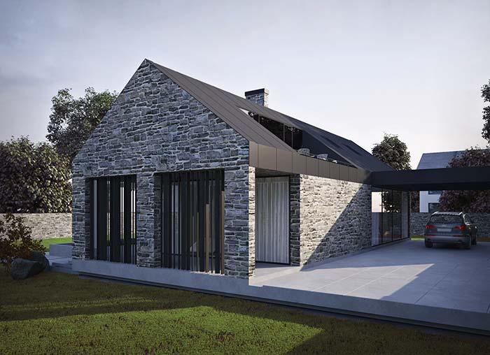 Esse tipo de fachada de casa com pedra é muito comum nas casas europeias