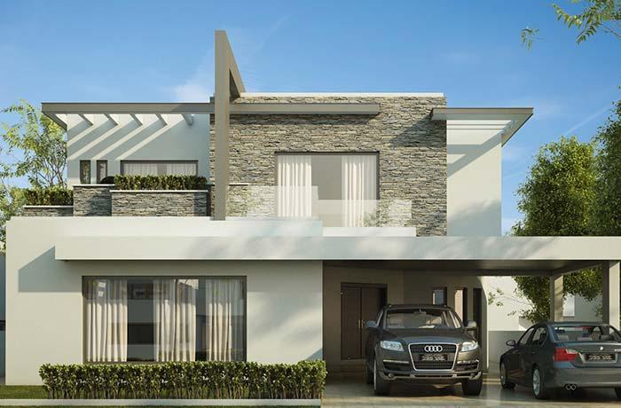 Fachada de casa com pedra: vigas metálicas dividem harmoniosamente o espaço com as pedras filetes na parede