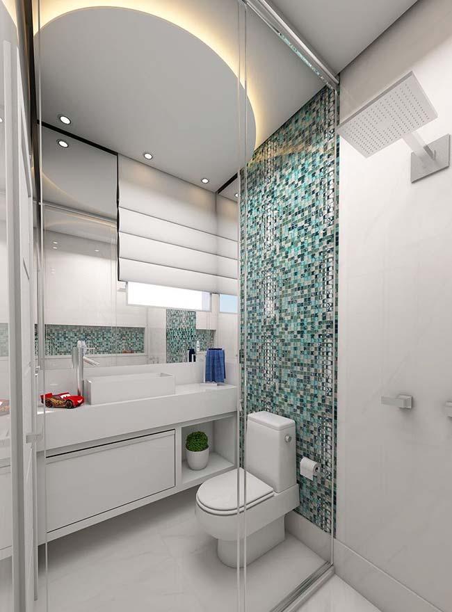 O azul e cinza das pastilhas de vidro formam a combinação de cores ideal para decoração moderna