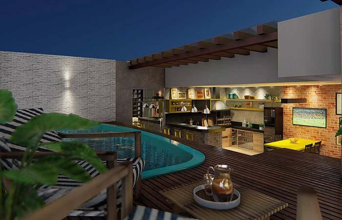 Lazer e diversão garantida com a edícula 'gourmet' integrada a área da piscina