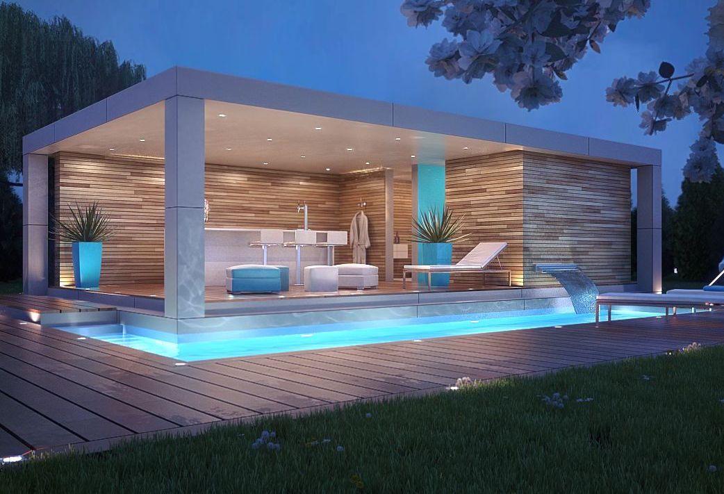 Edícula especialmente iluminada traz um bar e um pequeno vestuário para quem sai da piscina