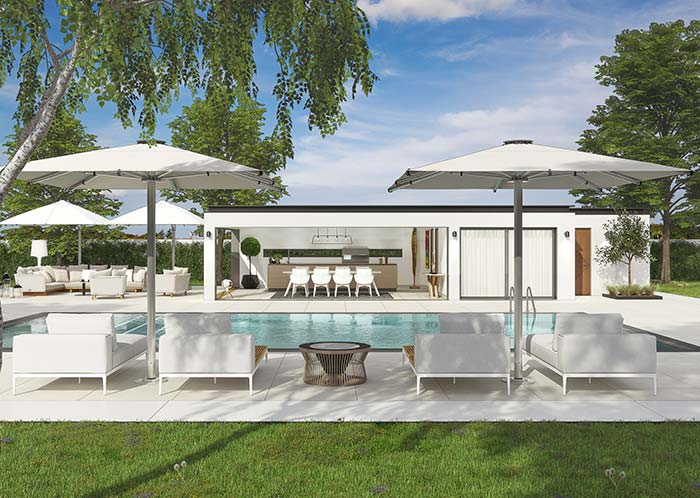 Edícula à beira da piscina traz mais conforto e funcionalidade para a área externa