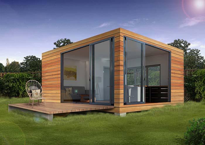 Edícula quadradinha, de madeira e ideal para relaxar em um local diferente da casa