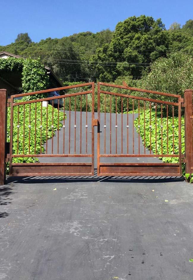 Entrada de chácara com alameda de asfalto e portão de madeira