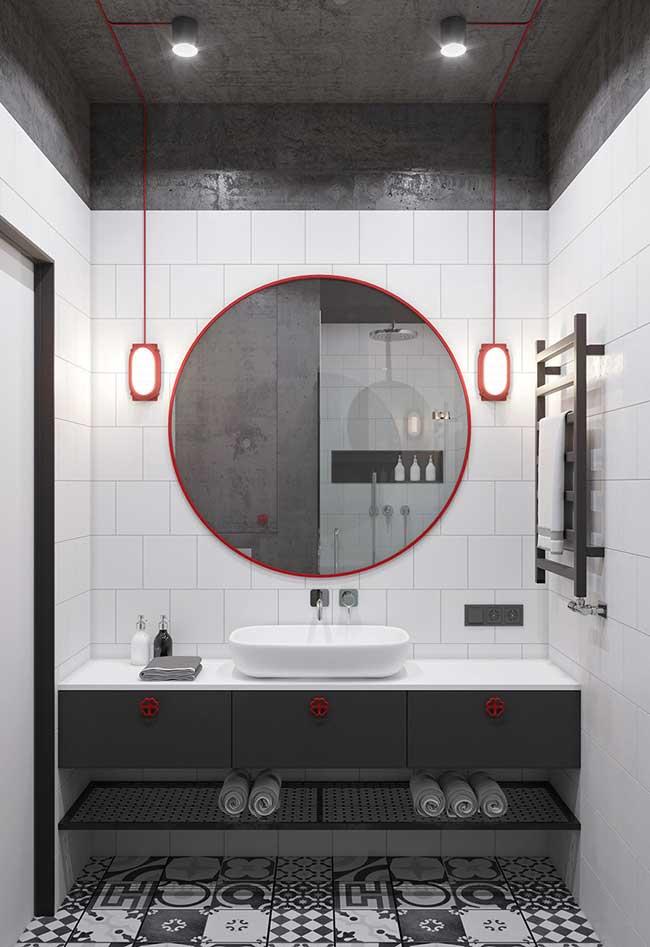 Banheiro decorado ao estilo industrial