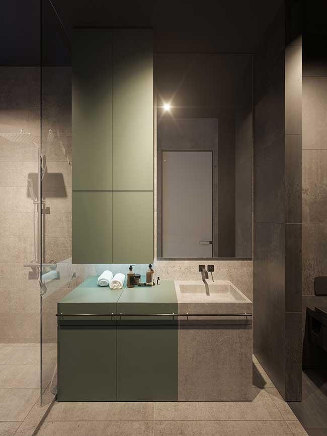Banheiro minimalista, industrial e moderno