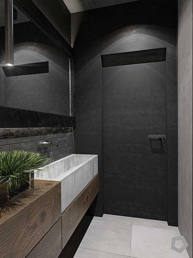 Estilo industrial nesse banheiro fica por conta dos tons sóbrios e neutros