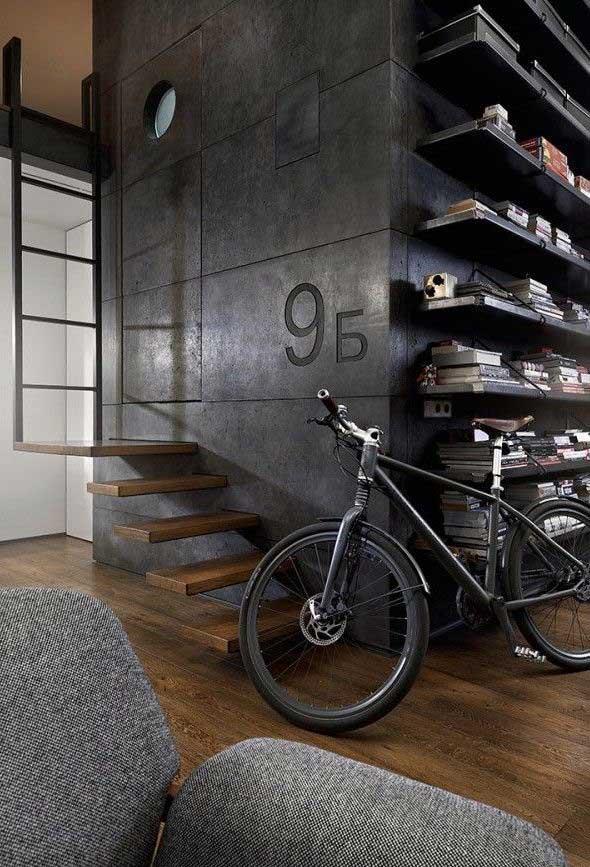 Se em alguns estilos de decoração a presença da bicicleta seria um incômodo, na decoração industrial ela é uma aliada