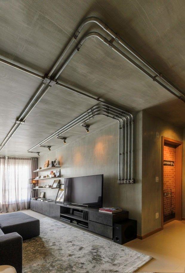 Além de funcionais, as tubulações cumprem um importante papel estético na decoração com estilo industrial