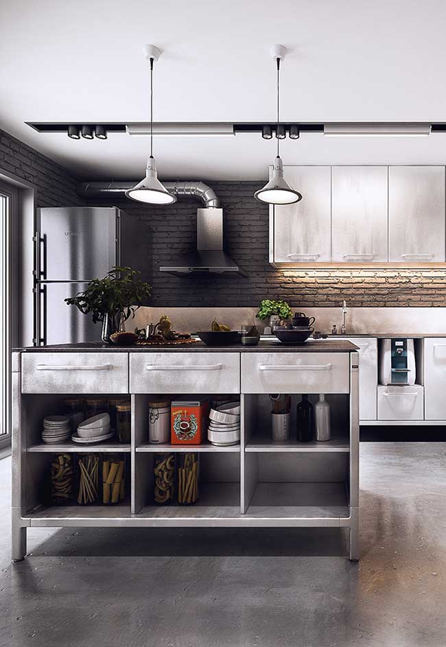 Cozinhas com armário de inox para completar a decor com estilo industrial