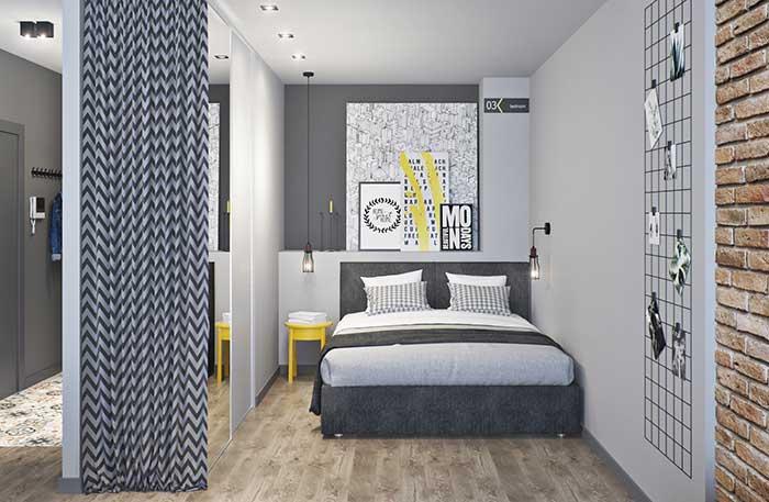 Cinza, branco e amarelo na decoração com estilo industrial