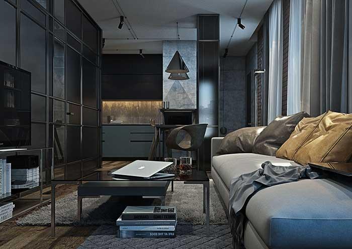 Materiais nobres como o couro fazem um contraste interessante e muito bem vindo na decoração com estilo industrial