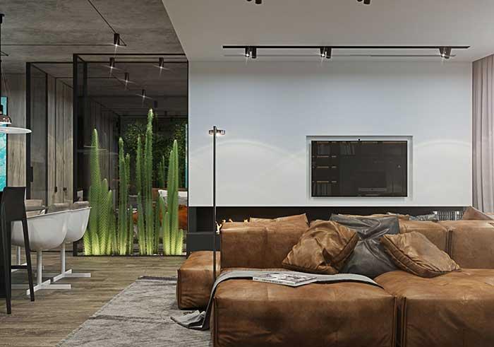 Os cactos, tendência de decoração, tem lugar garantido nessa decoração com estilo industrial