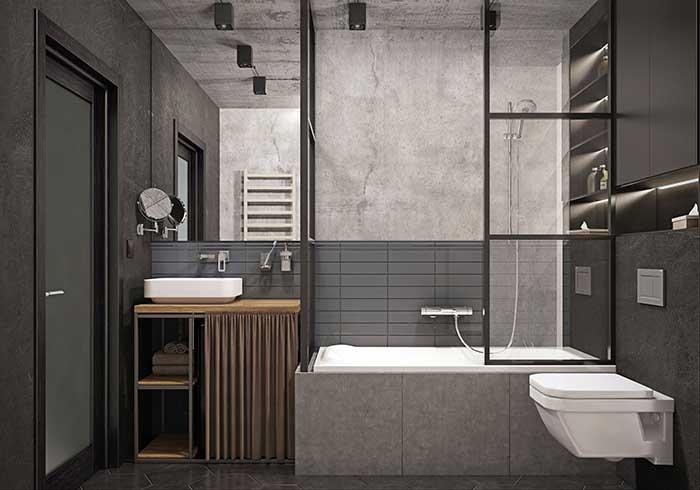 Banheiro moderno e industrial surpreende pelo uso da cortininha de pano no gabinete, mas repare que não é qualquer cortininha