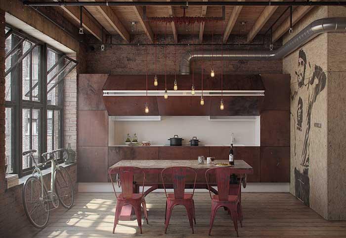 Estilo industrial: tons quentes dessa cozinha aliadas ao forro de madeira criam uma decoração mais intimista e acolhedora