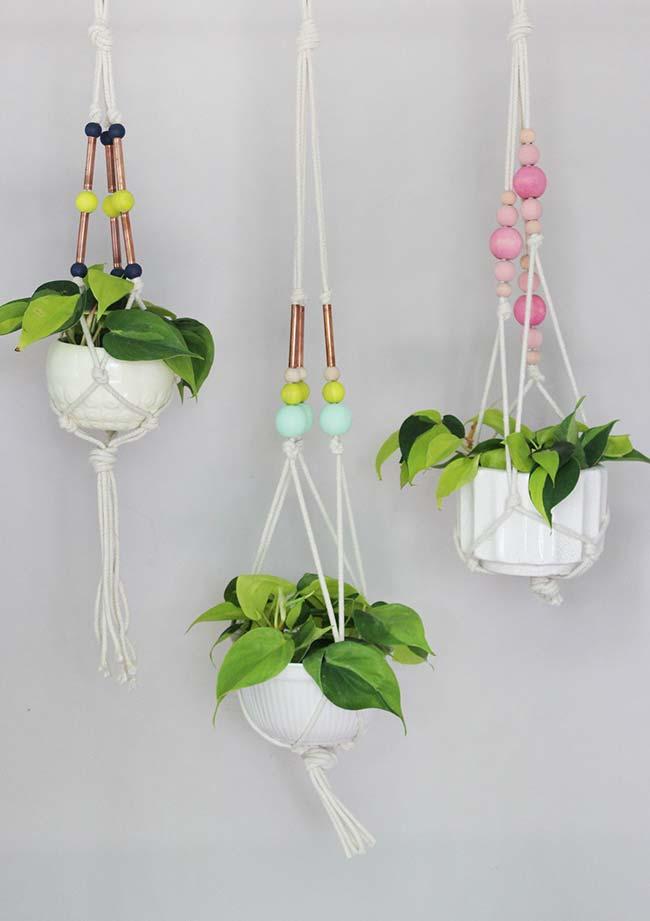 Plantas com suportes e cachepôs