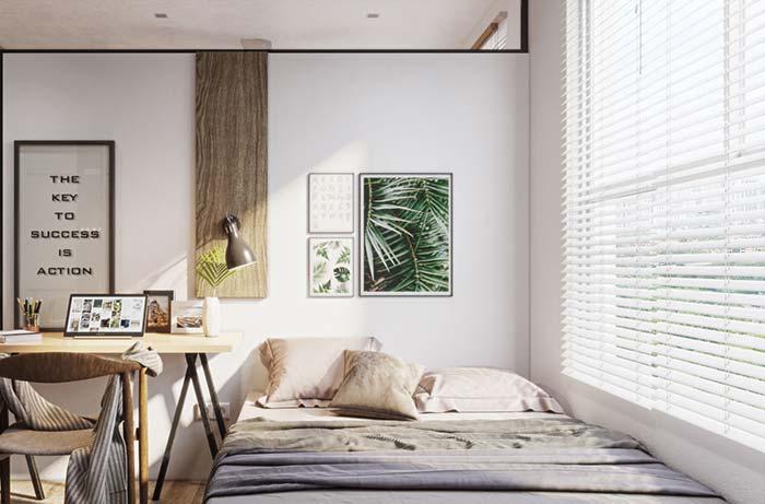 Persiana para quarto horizontal chega até a altura da cama
