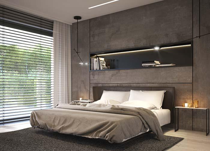 Cores sóbrias do quarto também foram utilizadas na persiana e na cortina