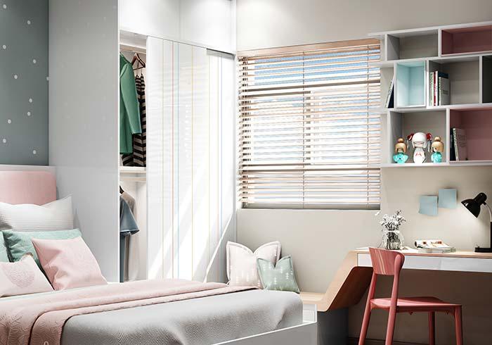 Na dúvida, as persianas para quarto de cor clara são as melhores opções