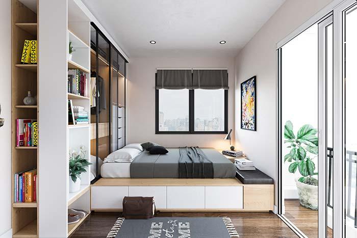 Persiana para quarto cinza, da cor da roupa de cama