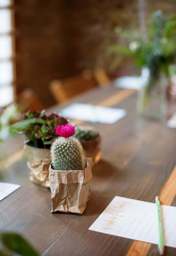 Cactos e suculentas para decorar a mesa do chá de bebê simples