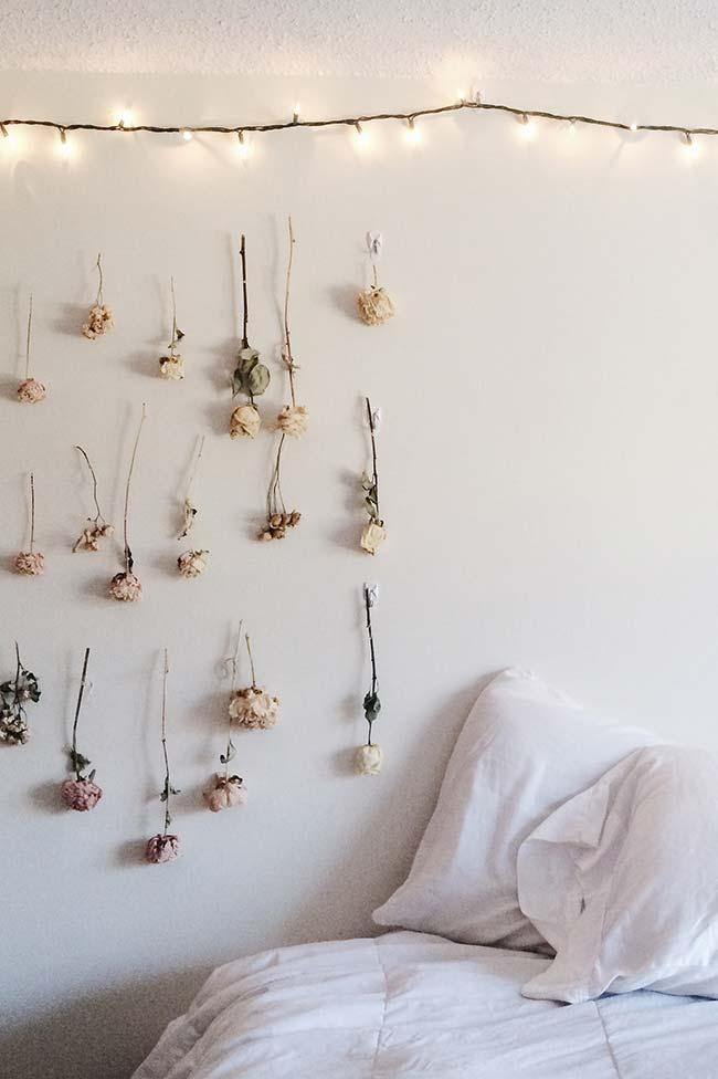 Decoração com flores secas
