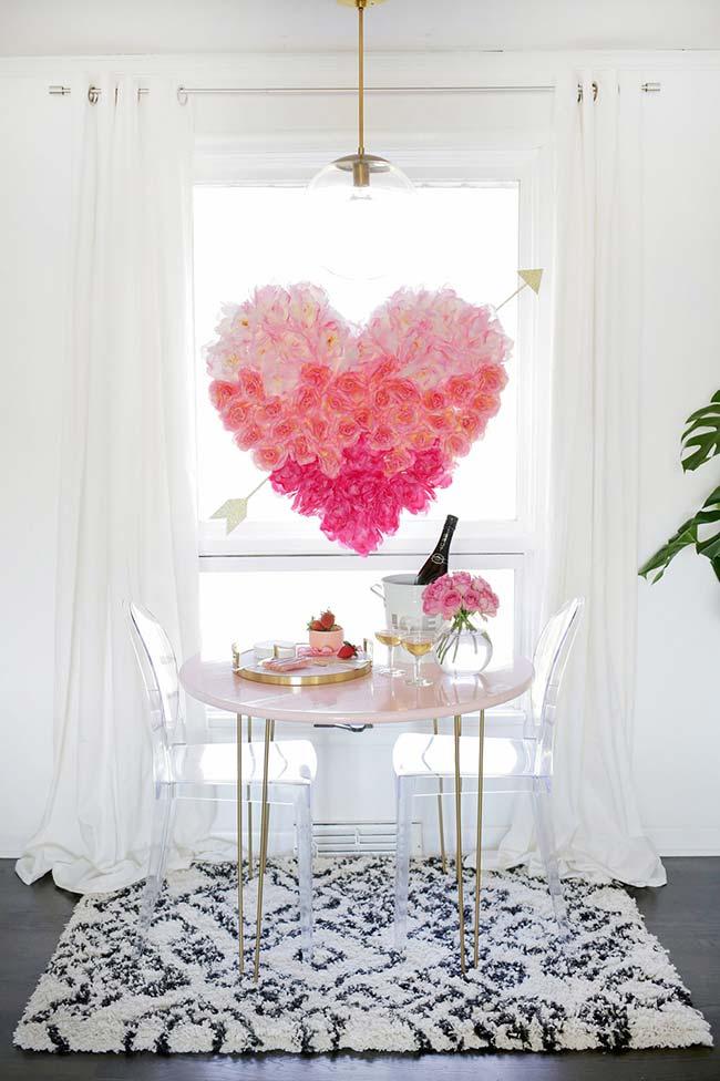 Decoração com flores romântica