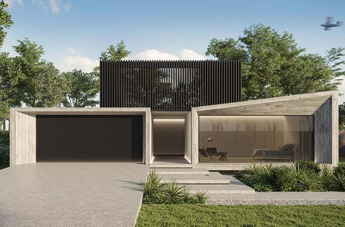 Casa pré-moldada dividida em três compartimentos