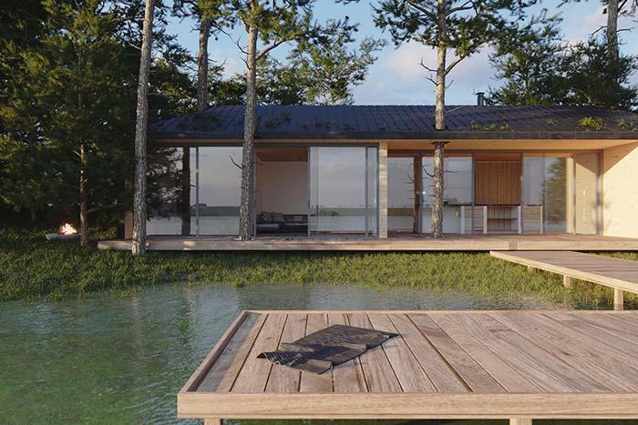 As casas pré-moldadas são uma ótima opção para chácaras, sítios e casas de praia