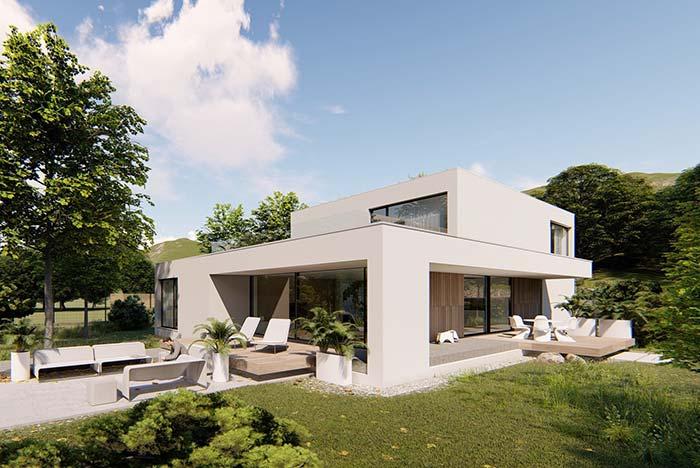 Casa de campo pré-moldada com uma arquitetura clean, moderna e funcional