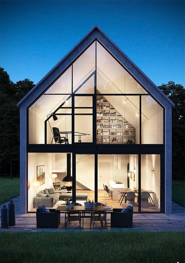 Casa pré-moldada de vidro e concreto