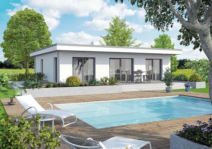 Casa pré-moldada de concreto com piscina