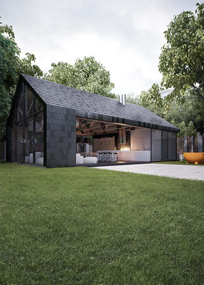 casa pré-moldada com paredes de vidro é pura paz e tranquilidade
