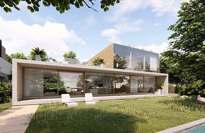 Parte superior desse modelo pré-moldado funciona como um terraço aberto