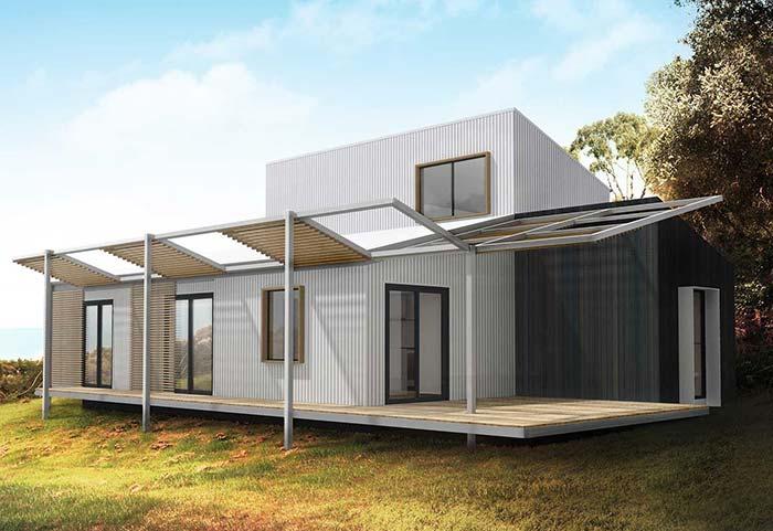 Uma estrutura diferente de telhado para o modelo de casa pré-moldada