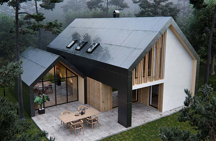 Casas pré-moldadas em tamanhos diferentes, mas construídas no mesmo modelo