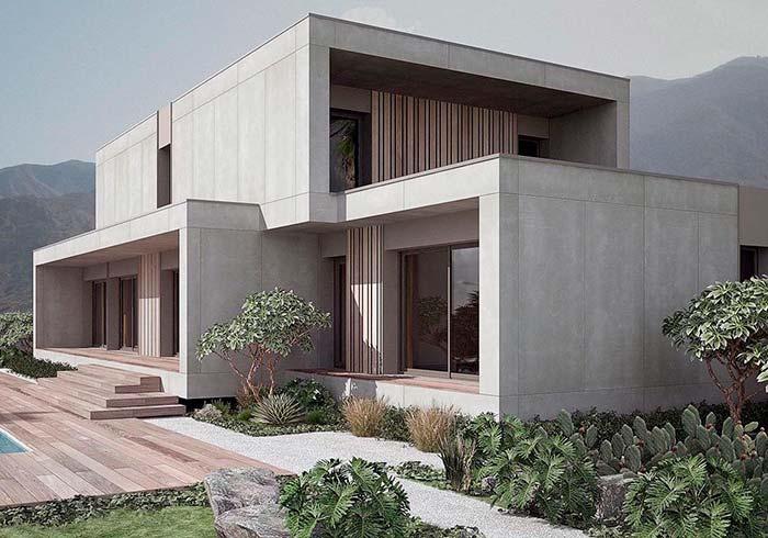 Casa pré-moldada em tamanho grande e com acabamento em concreto aparente