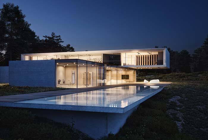 Casa pré-moldada inclui uma piscina no projeto
